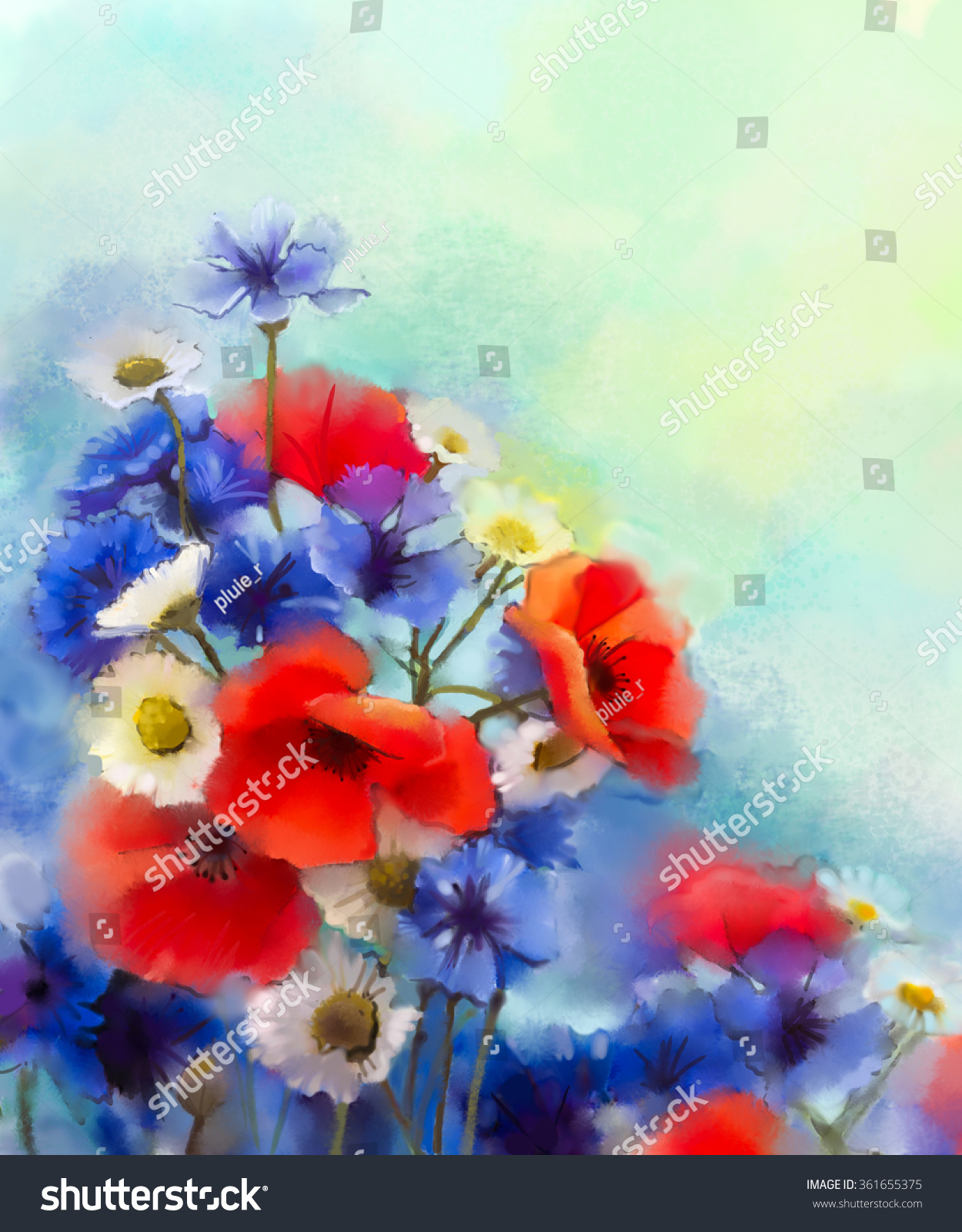 Royalty-free Watercolor red poppy flowers, blue… #361655375 Stock ...