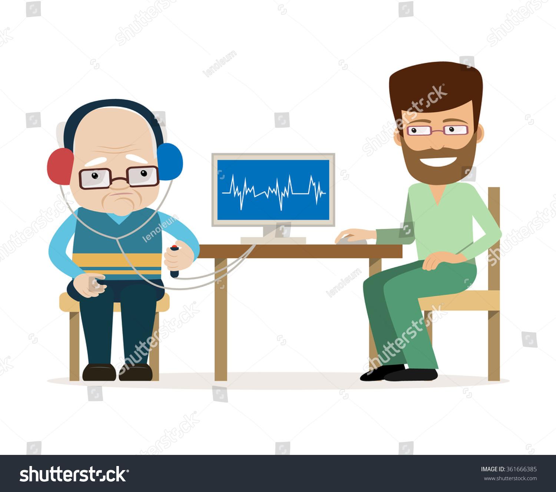 hard hearing elderly man ing doctor stock vector  hard of hearing elderly man ing a doctor vector illustrations in cartoon style hearing