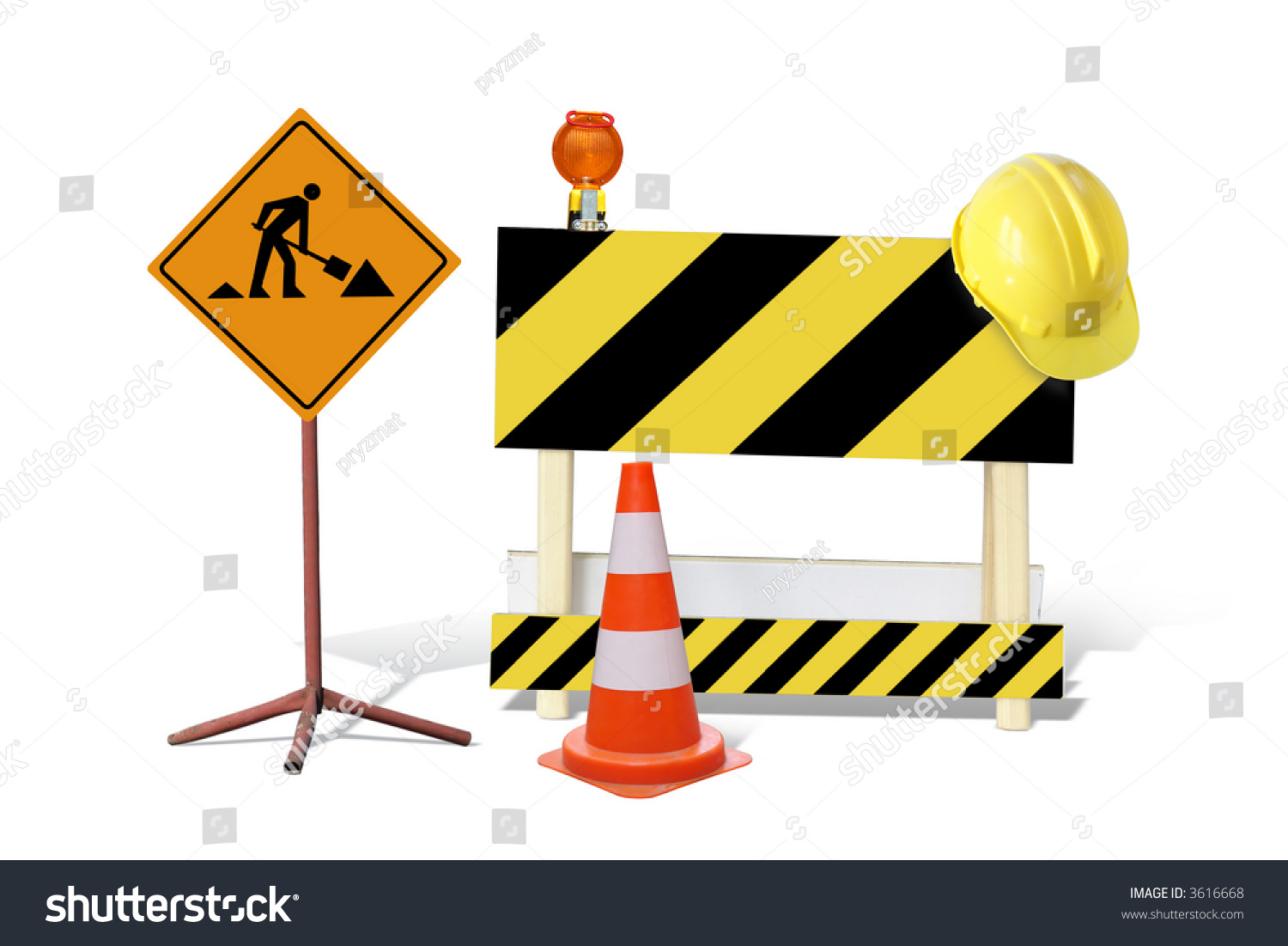 Road construction sign yellow black striped stock photo