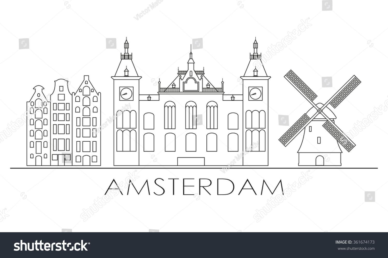Amsterdam city skyline design amsterdam outline stock for Design amsterdam