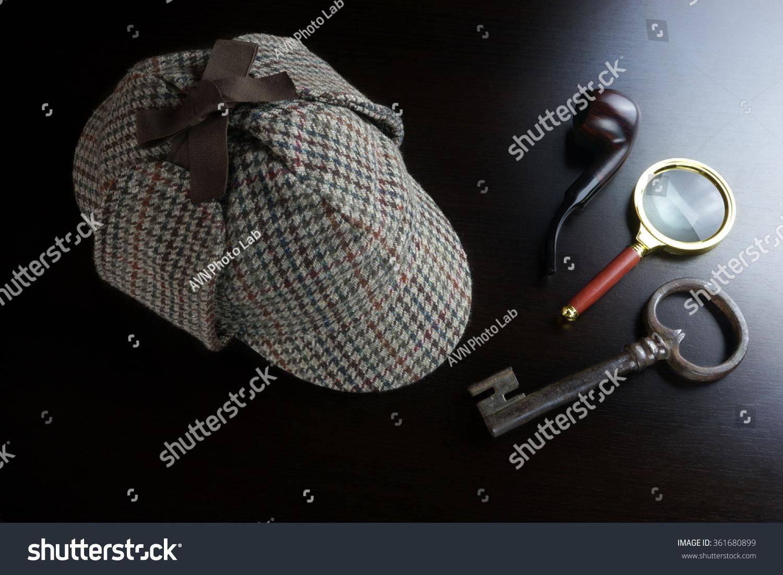 Sherlock Holmes Deerstalker Hat Smoking Pipe Stock Photo