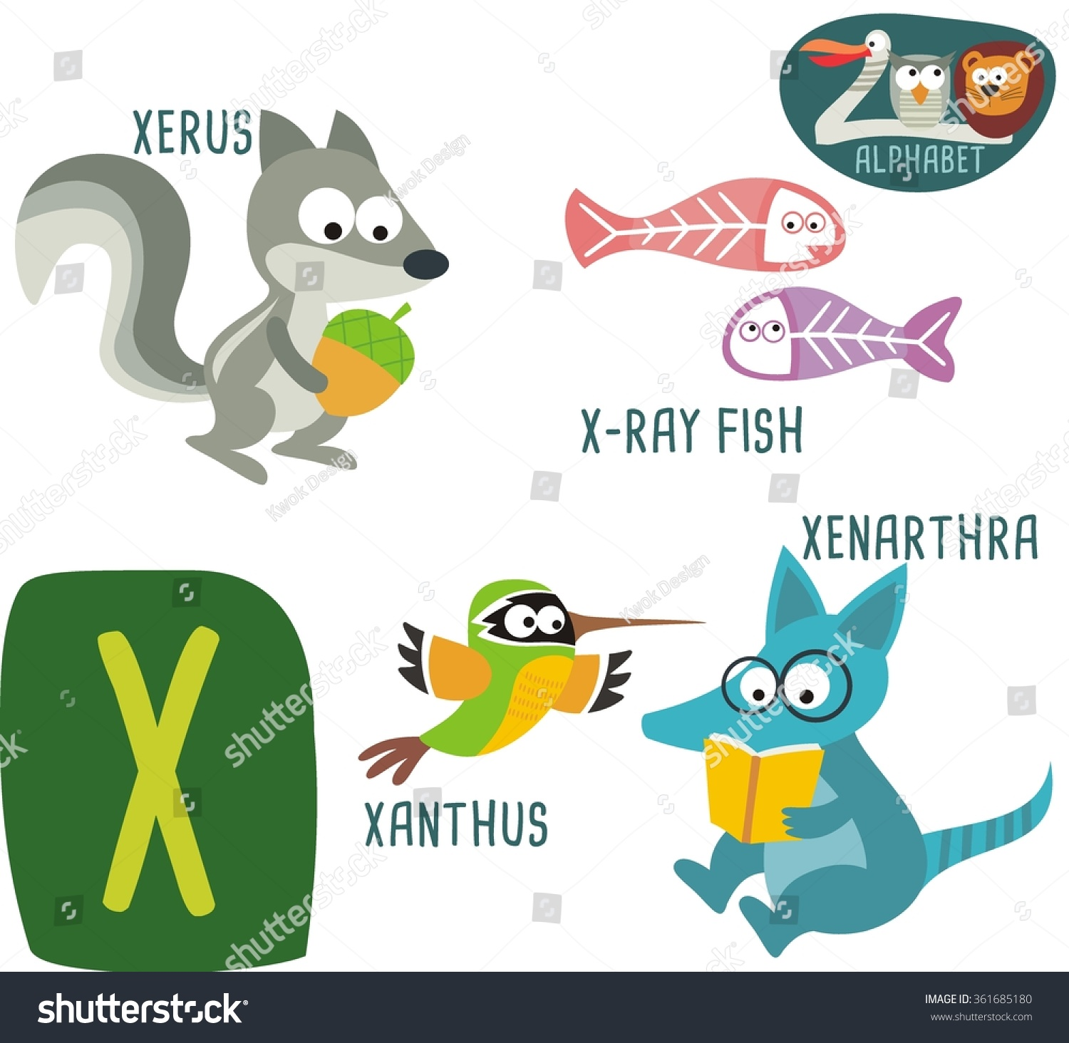 Cartoon Characters That Start With Q : Cute zoo alphabet vector letter stock