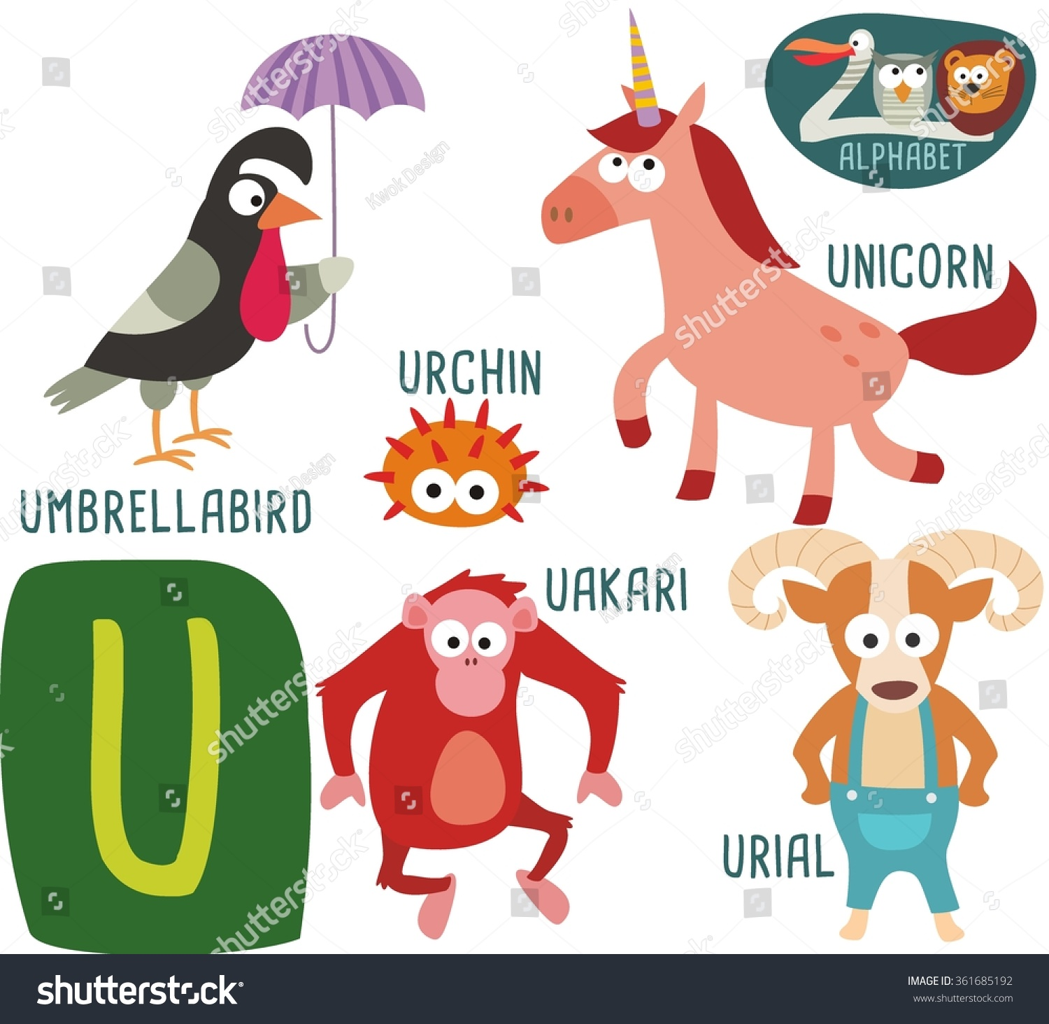 animals that start with the letter u zoo alphabet vector u letter stock vector 361685192 20462 | stock vector cute zoo alphabet in vector u letter for umbrella bird unicorn urchin urial uakari funny 361685192