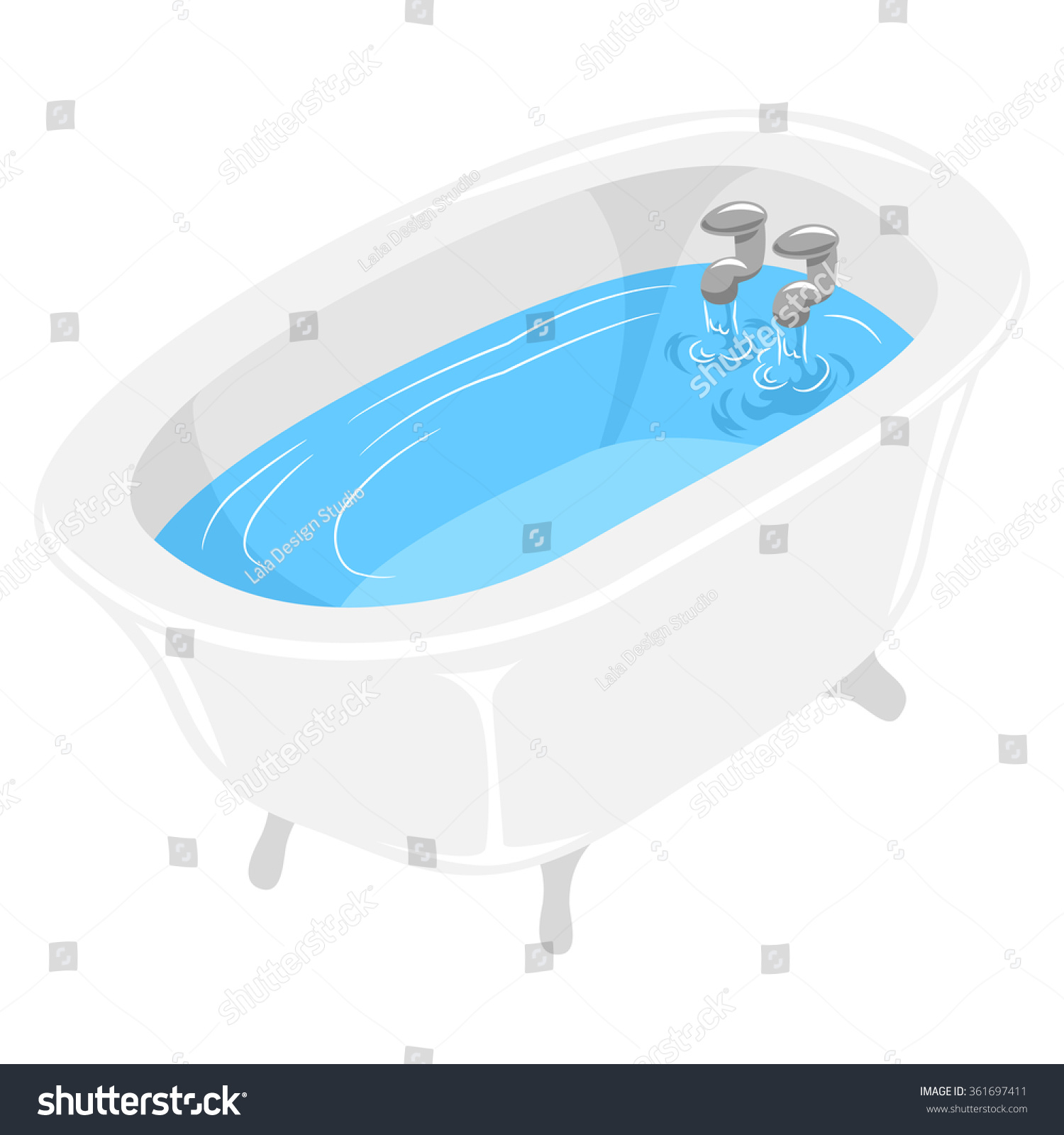 Vector Illustration Bath Tub Filled Water Stock Photo (Photo, Vector ...
