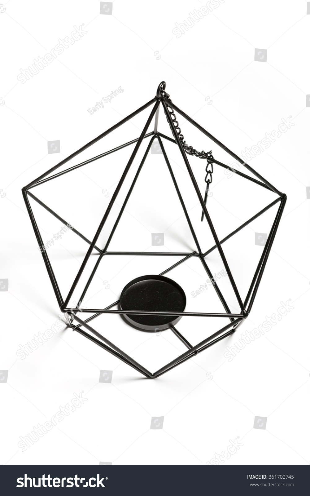 Black iron wire handcraft shaped square stock photo