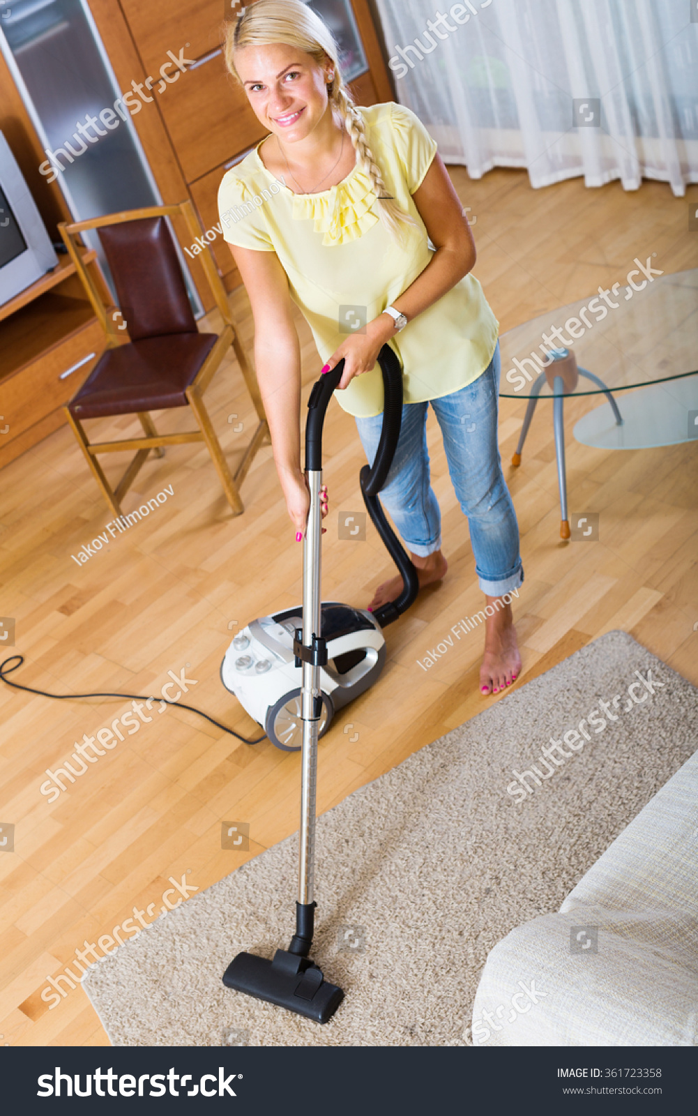 Young Woman Using Vacuum Cleaner During Stock Photo 361723358 Shutterstock
