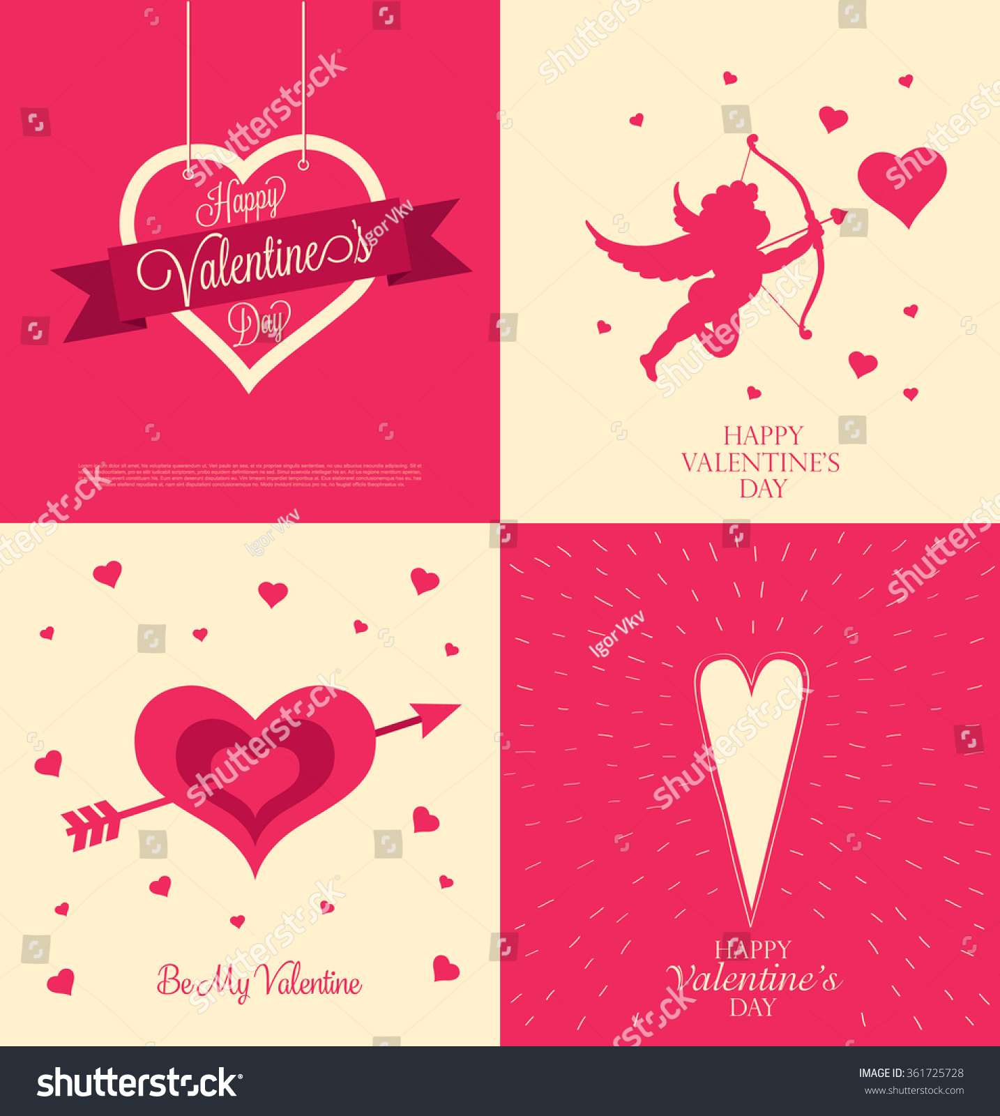 Valentines greeting cards set happy valentines stock vector valentines greeting cards set happy valentines day kristyandbryce Image collections