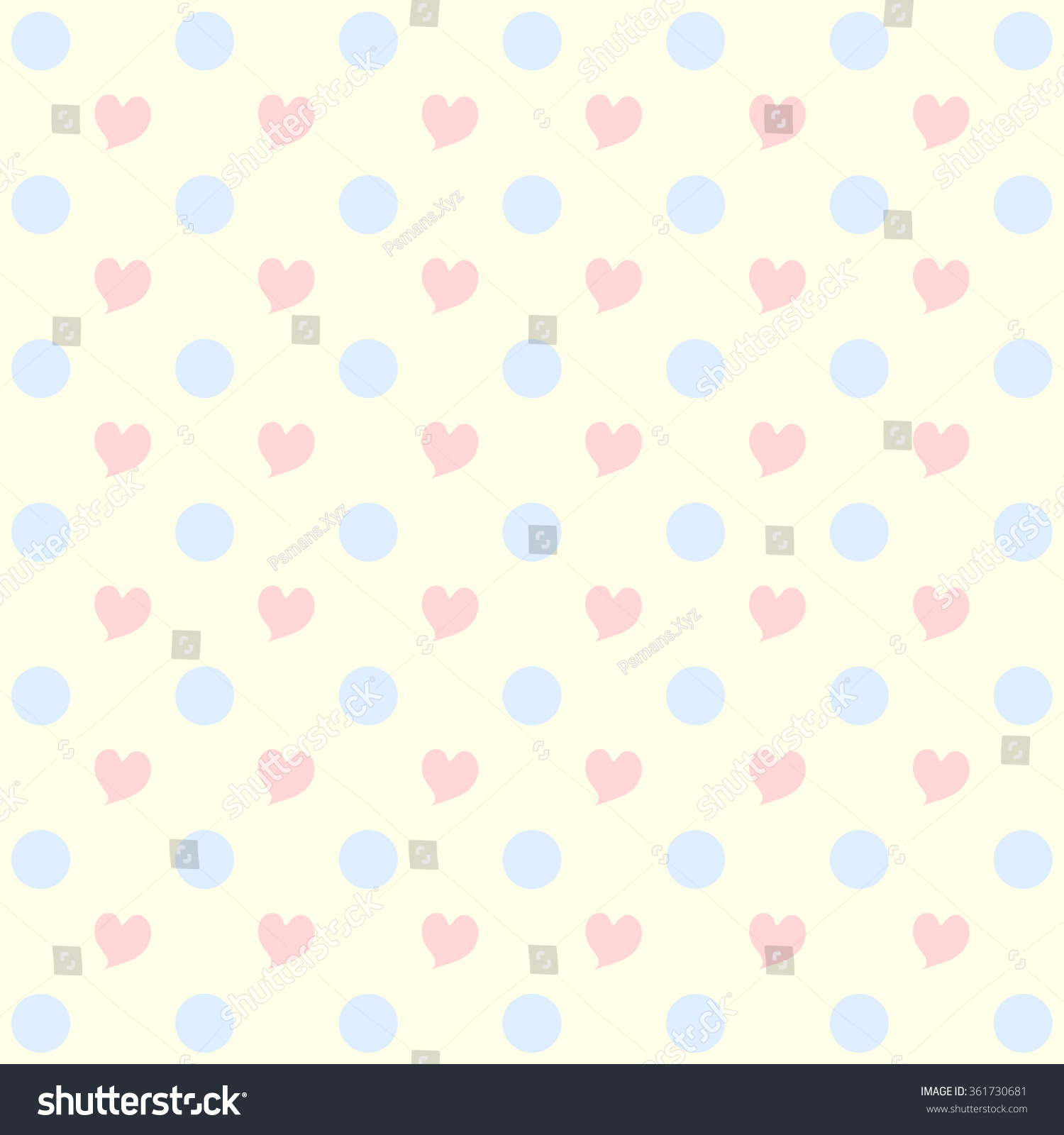 Sweet Pink Heart Pattern And Pastel Blue Dot Texture On Cream Background Wallpaper Illustration