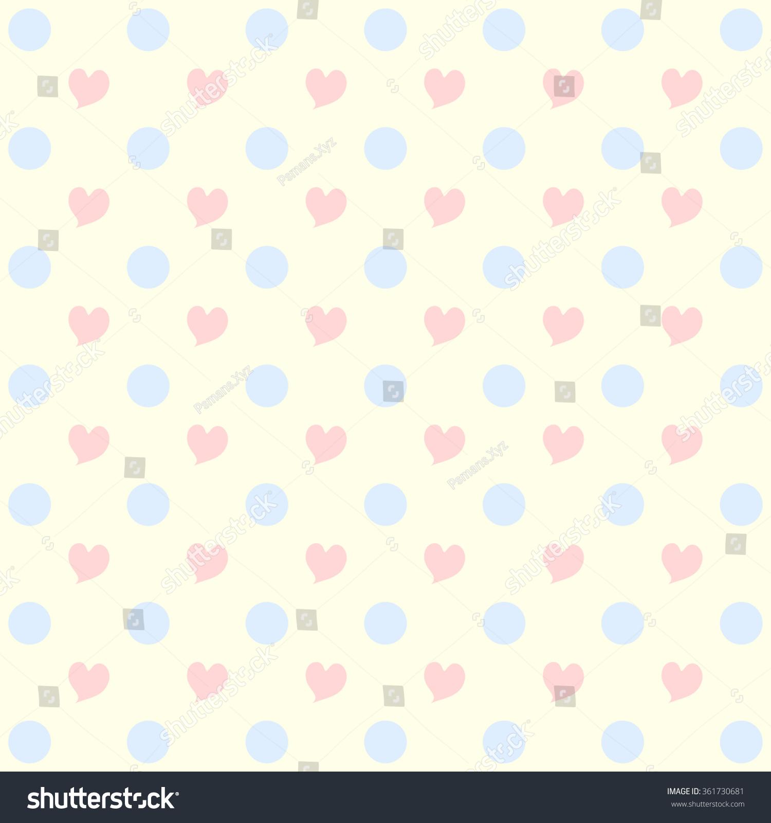 Sweet Pink Heart Pattern Pastel Blue Stock Illustration ...
