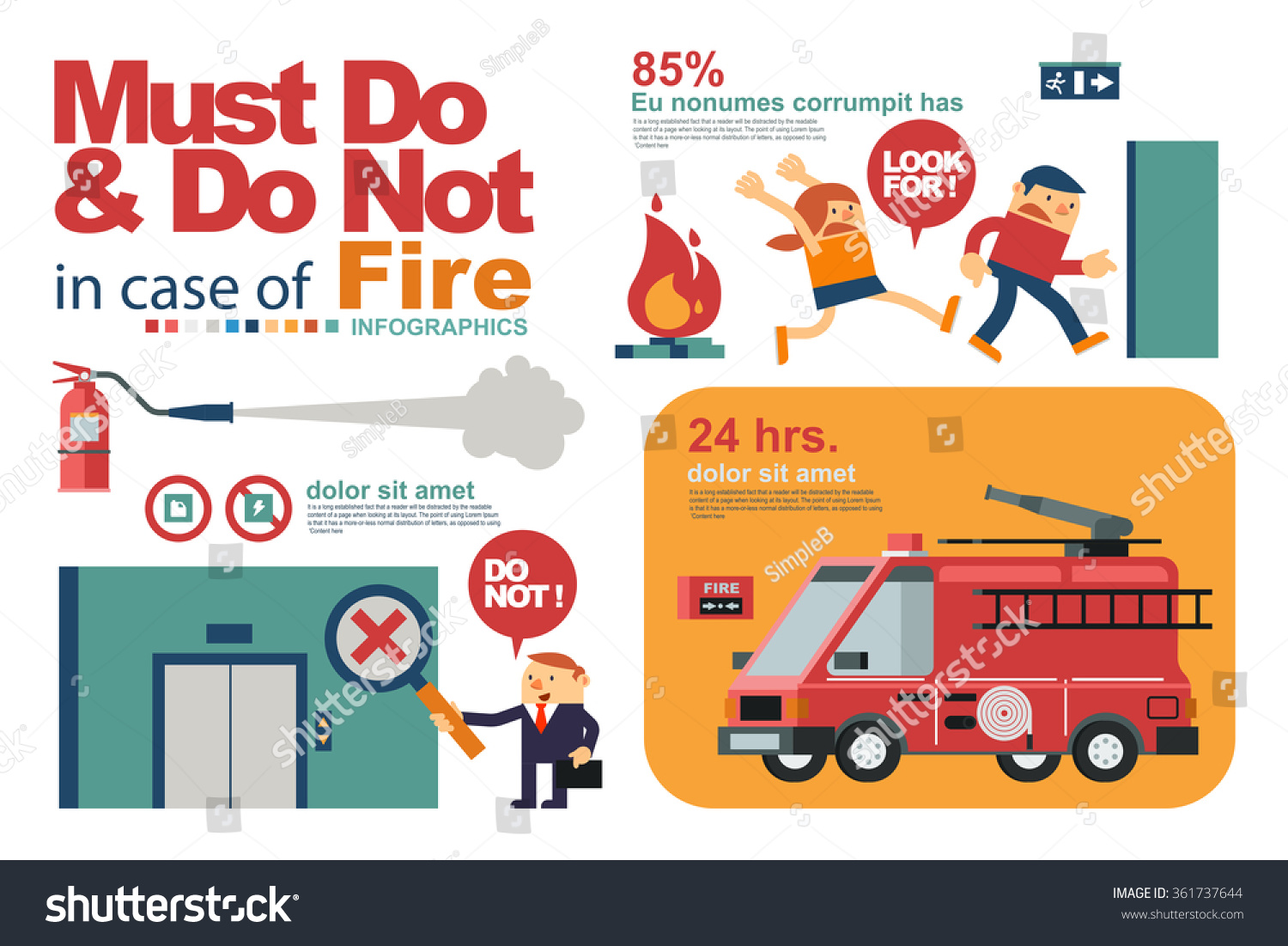 Vector Illustration Instruction Peoples Safety Fire Stock Vector