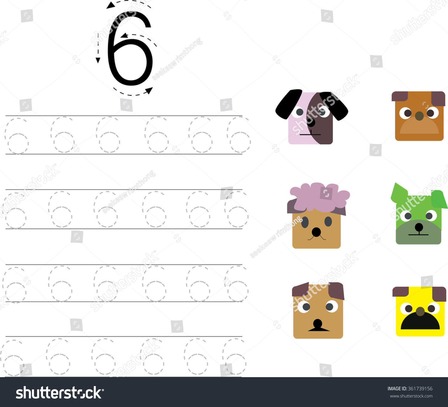 Number Tracing Worksheet Six 6 Stock Vector Shutterstock