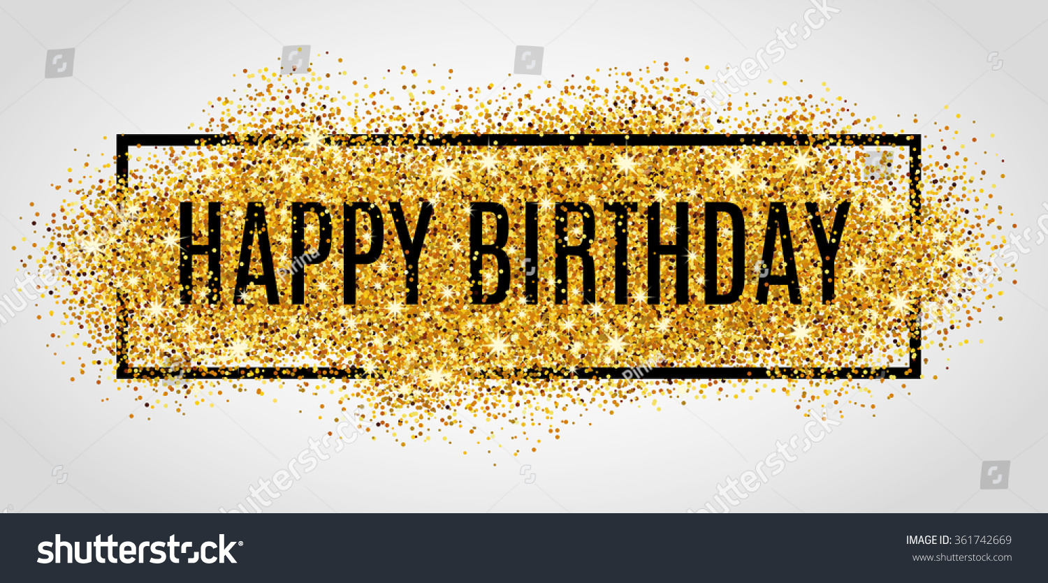 Gold Sparkles Background Happy Birthday Happy Stock Vector ...
