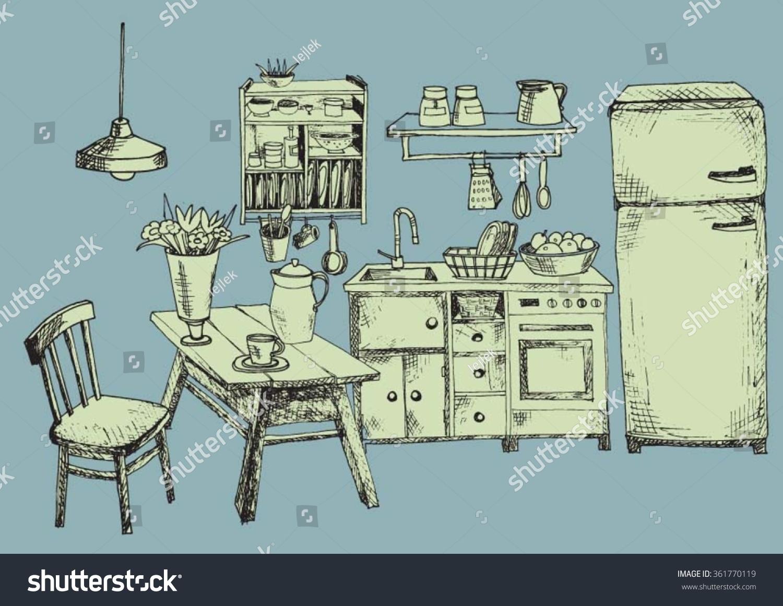 Nice Kitchen Blue Stock Vector 361770119 - Shutterstock