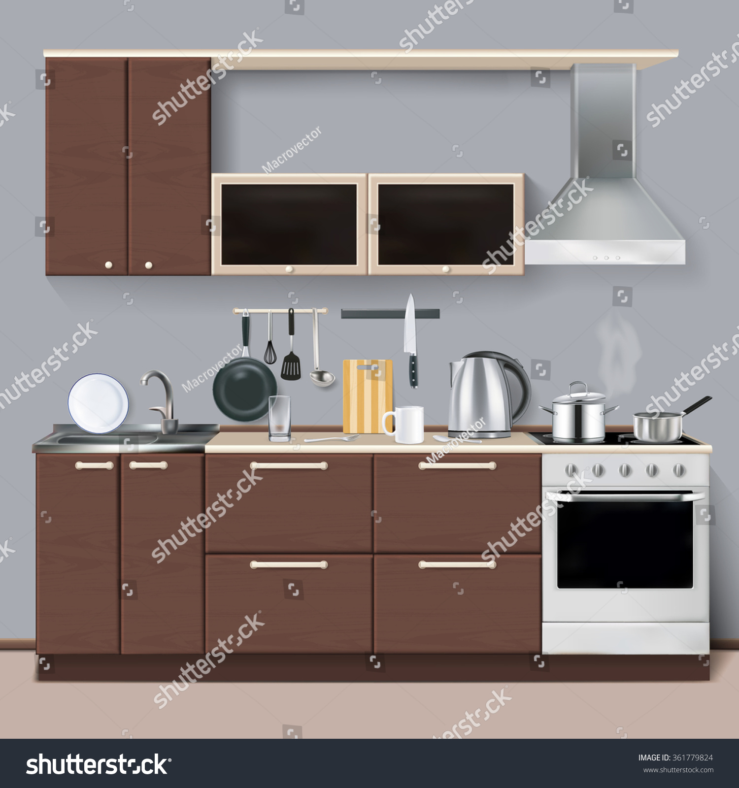 Modern Kitchen Interiors Modern Kitchen Interior Realistic Style Cabinets Stock Vector