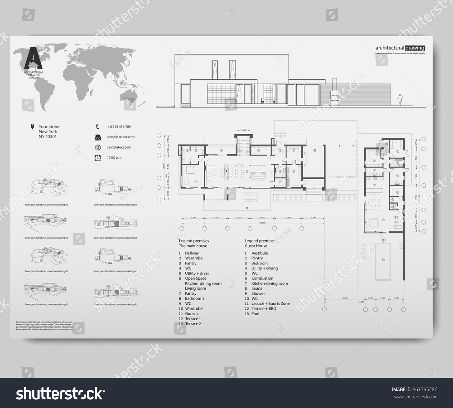 Wireframe Drawing 3 D Building Vector Architectural Stock Vector ...