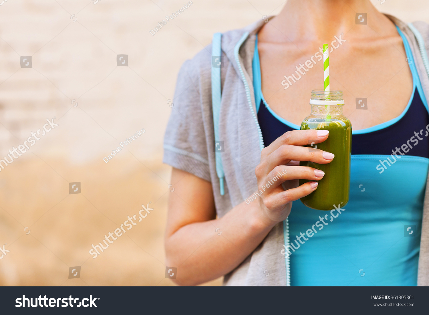 Woman Drinking Vegetable Smoothie After Fitness Stock ...