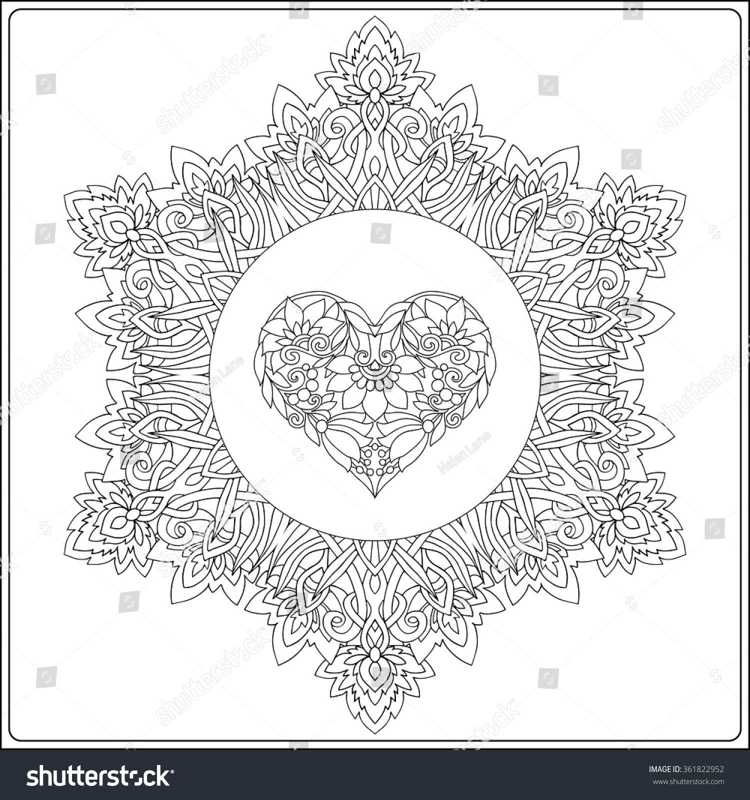Hand Drawn Floral Mandala Butterflies Decorative Stock Vector ...