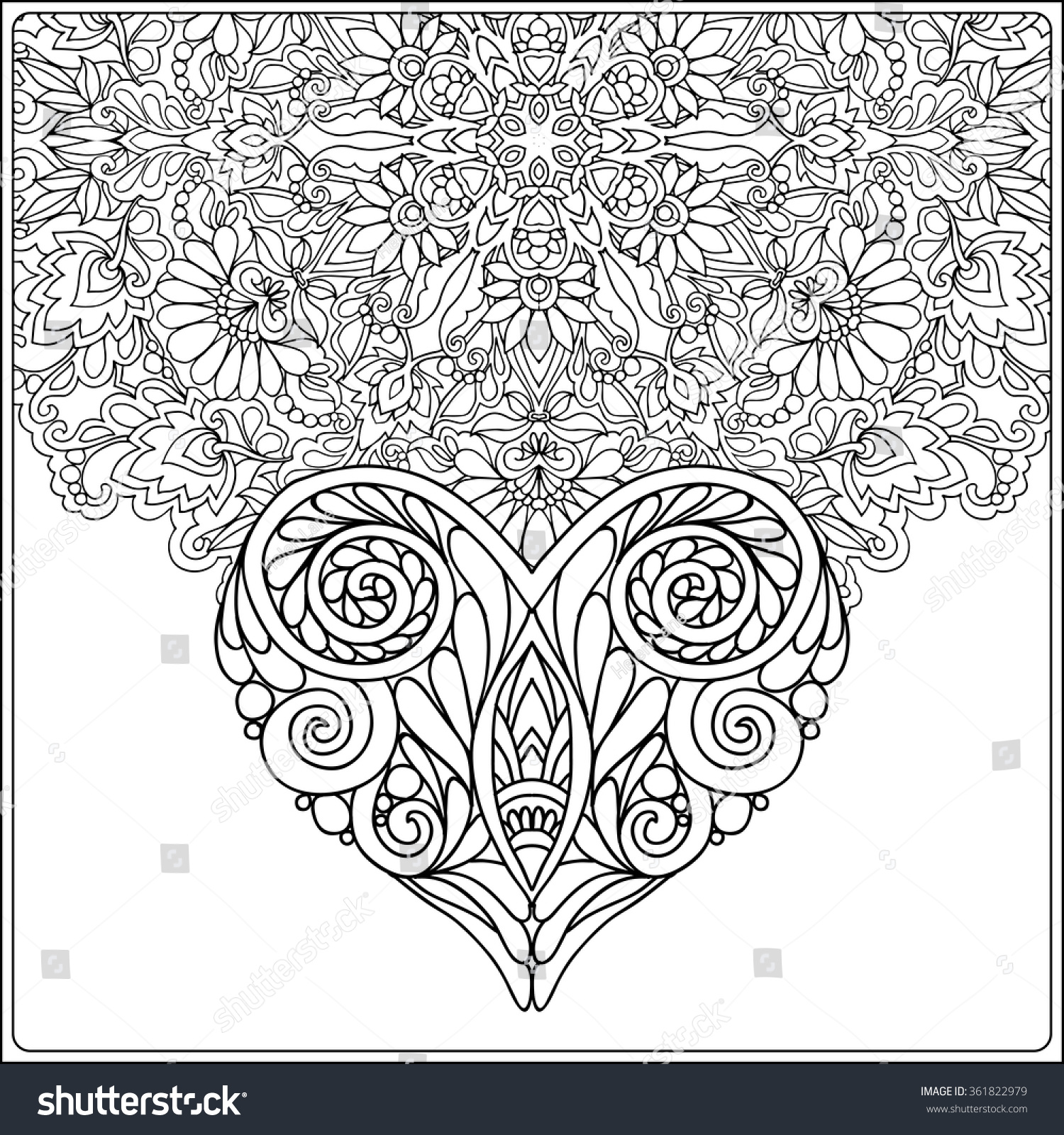 Valentines day mandala coloring pages - Hand Drawn Floral Mandala And Decorative Love Heart For Valentine S Day Vector Illustration Coloring