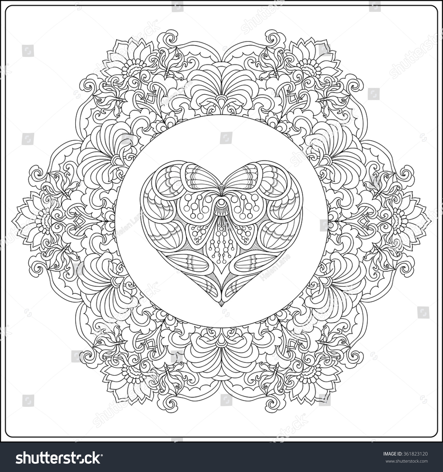 Valentines day mandala coloring pages - Hand Drawn Floral Mandala With Butterflies And Decorative Love Heart For Valentine S Day