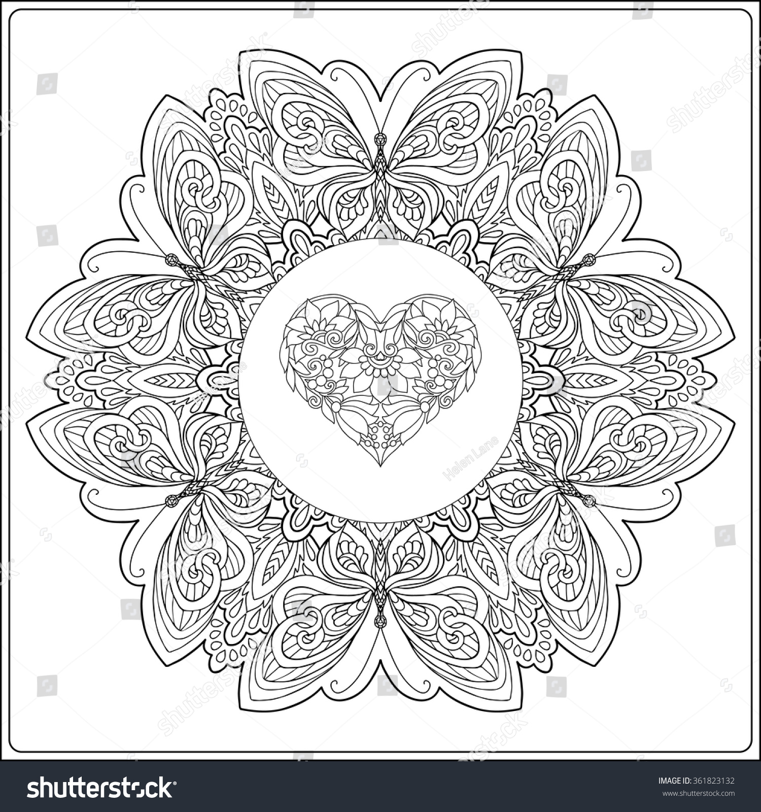 Valentines day mandala coloring pages - Hand Drawn Floral Mandala With Butterflies And Decorative Love Heart For Valentine S Day Vector Illustration