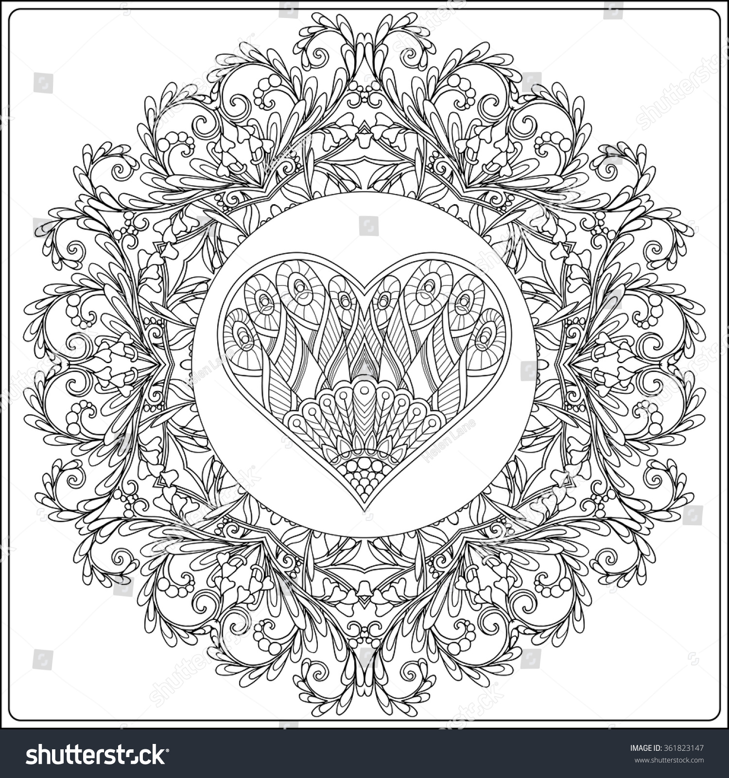 Hand Drawn Floral Mandala And Decorative Love Heart For Valentines Day Vector IllustrationColoring Book Adult Older Children Coloring Page