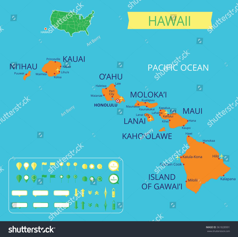 Map Hawaii Capital Honolulu Infographic Elements Stock Vector
