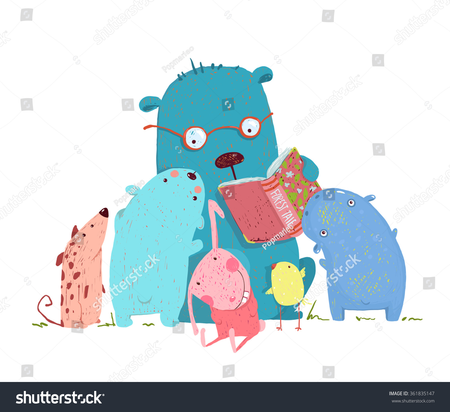 Bear Reading Book Group Animal Kids Stock Vector 361835147 ...
