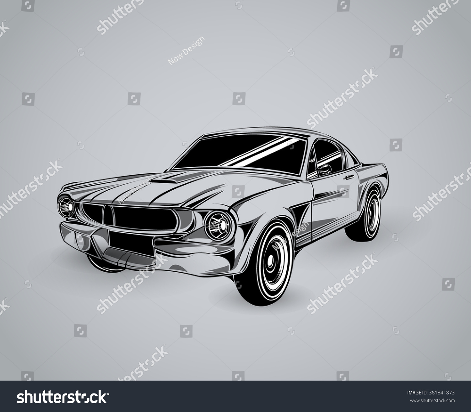 Vintage American Muscle Car Vector Silhouette Stock Vector ...