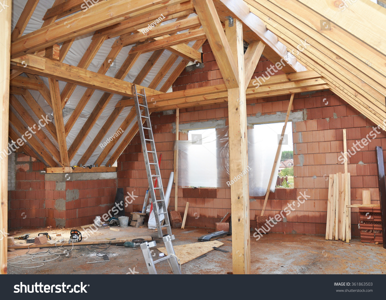 Building Attic Interior Roofing Construction Indoor Stock