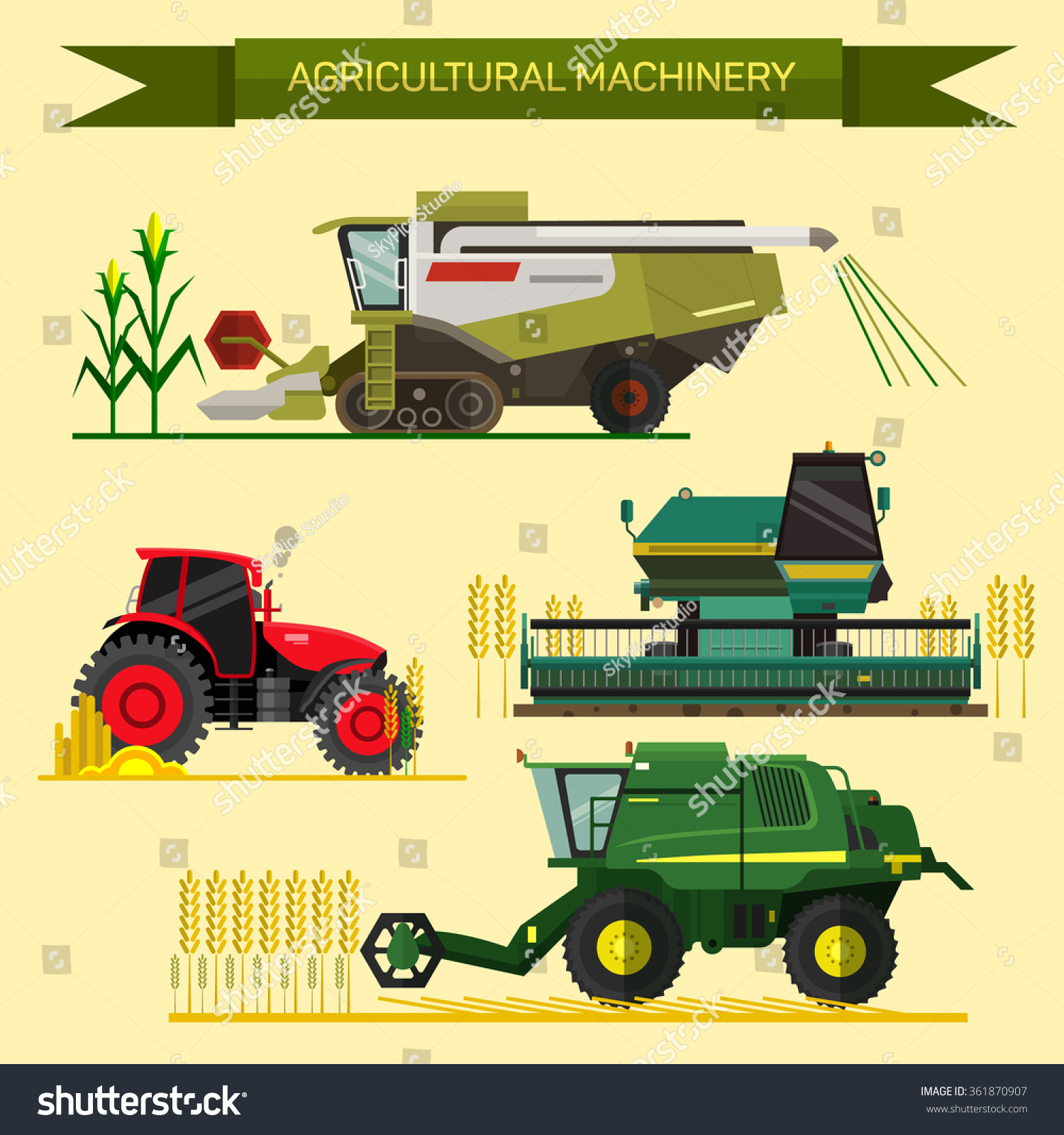 Agricultural Machinery Design : Vector set agricultural vehicles farm machines stock