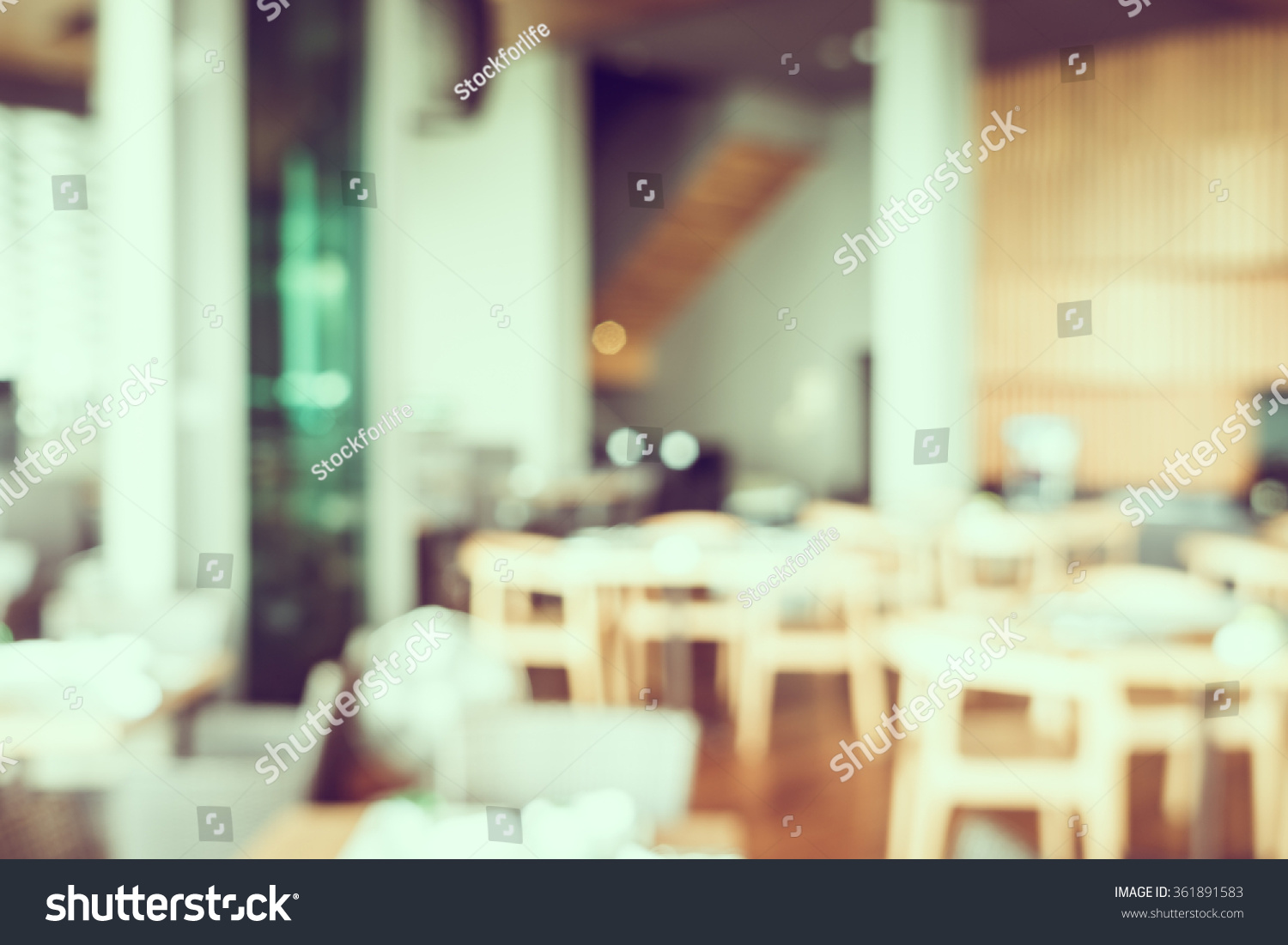 Abstract blur restaurant interior background vintage stock