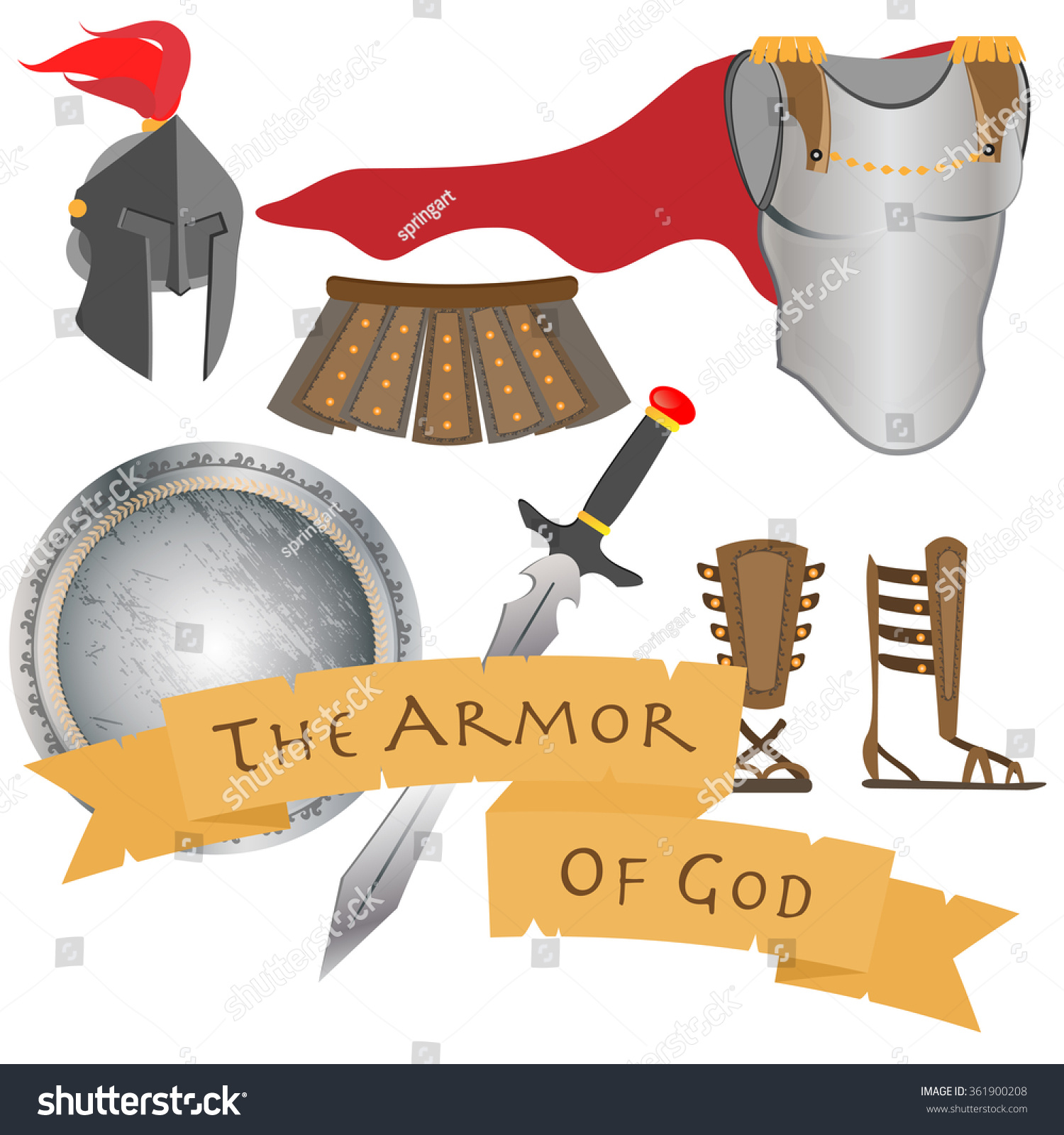 armor god including belt truth breastplate stock vector 361900208