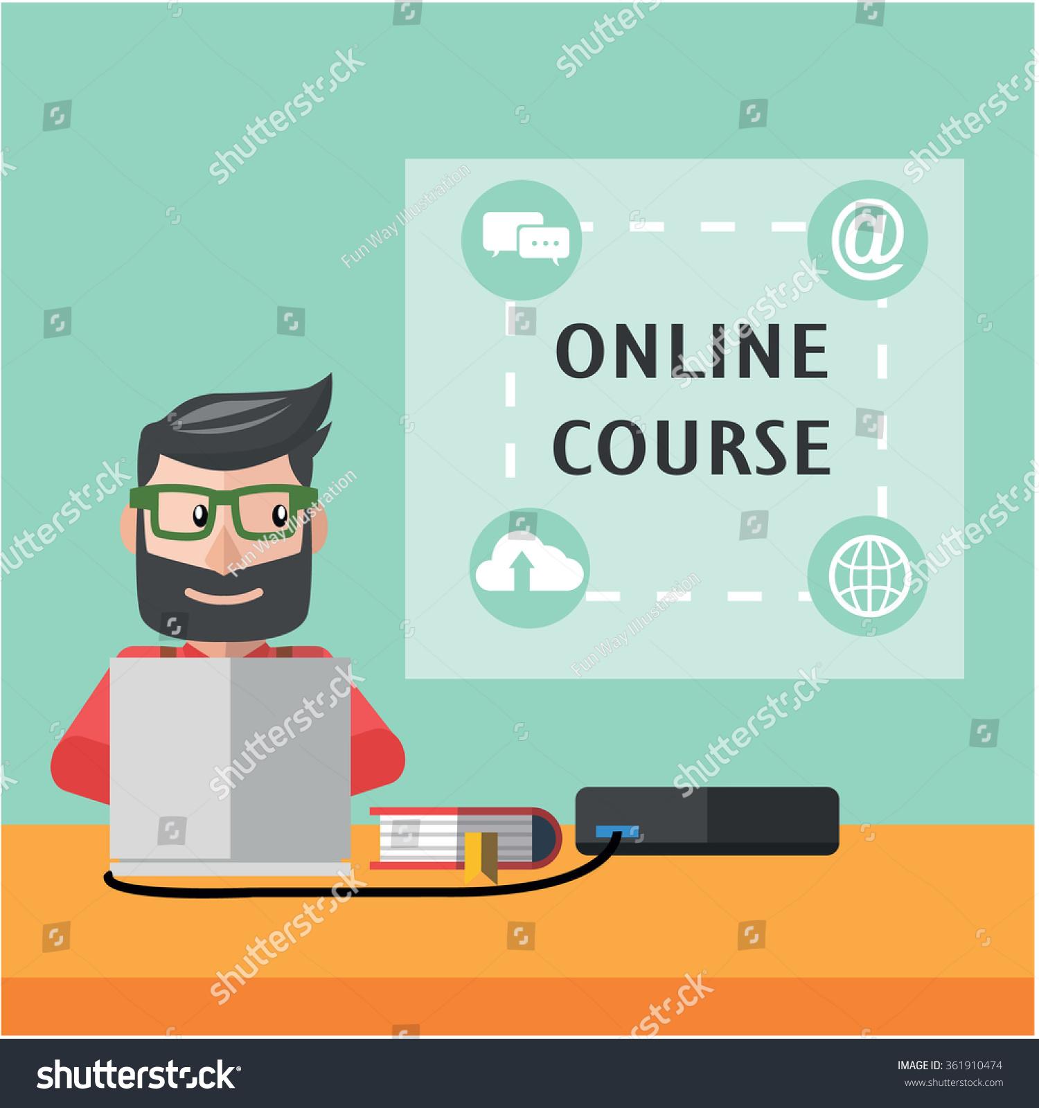 Color on online - Online Course Flat Color Cartoon Illustration