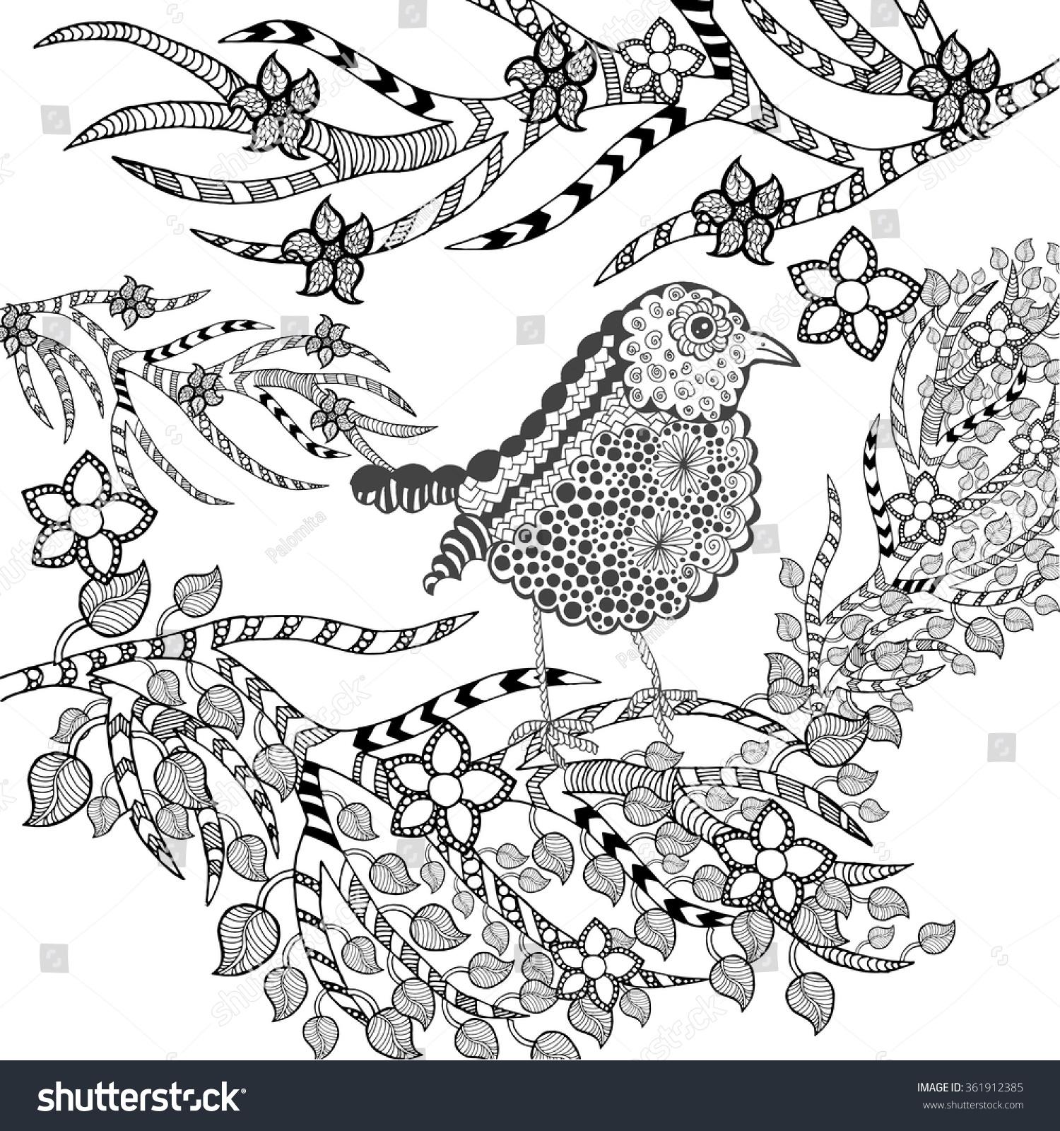 cute bird flower garden animals hand stock vector