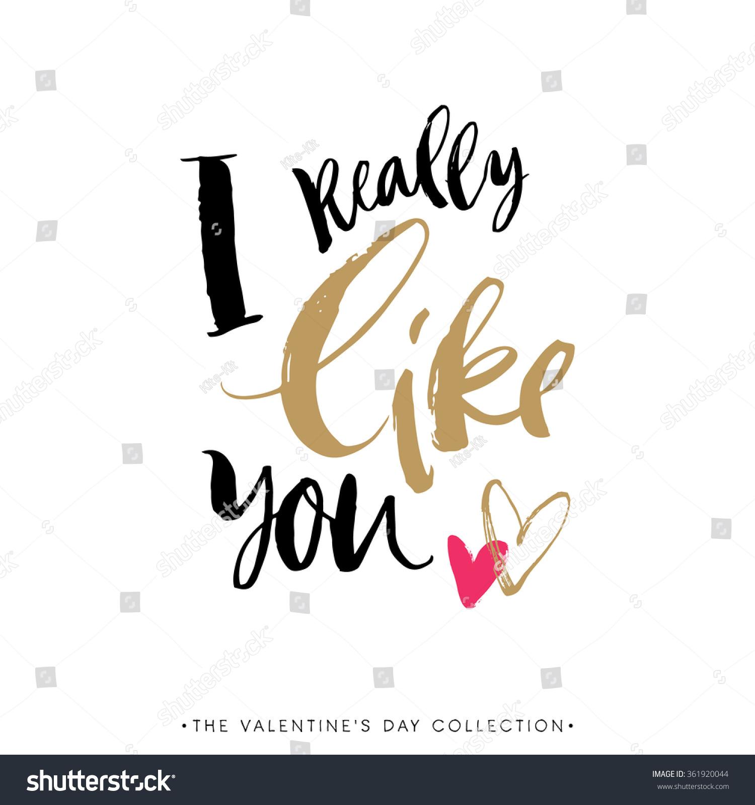 Really Like You Valentines Day Greeting Stock-Vektorgrafik 361920044 ...