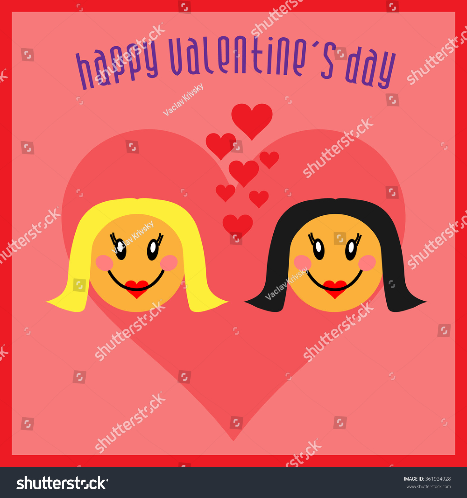Lesbian Happy Valentines Day Greeting Card Vector 361924928 – Gay Valentines Card