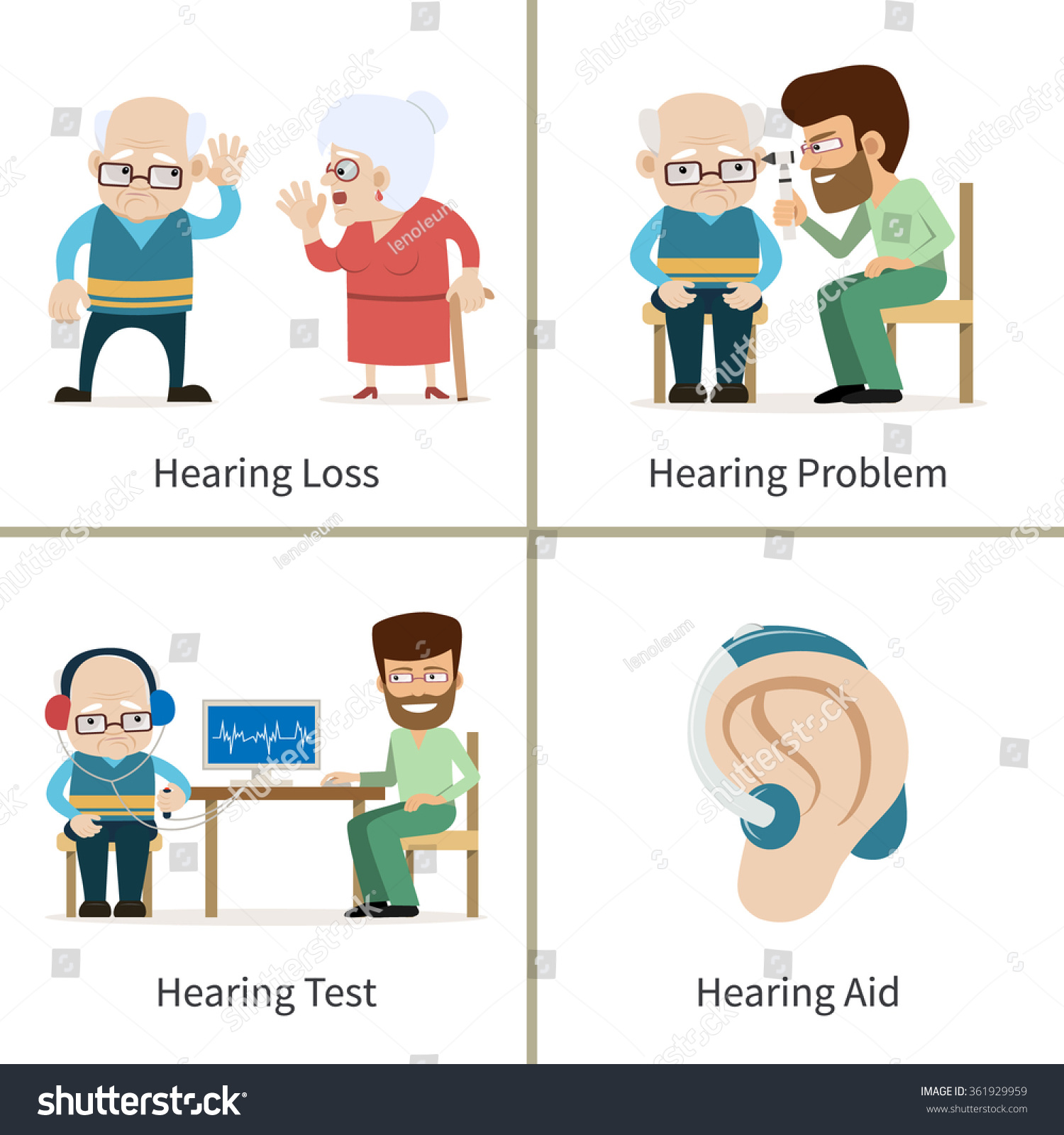 Hearing Loss Set Vector Illustrations Cartoon Stock Vector