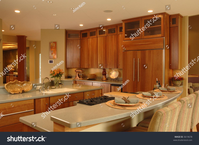 Modern Kitchen Cherry Cabinets Granite Countertops Stock Photo Edit Now 3619678