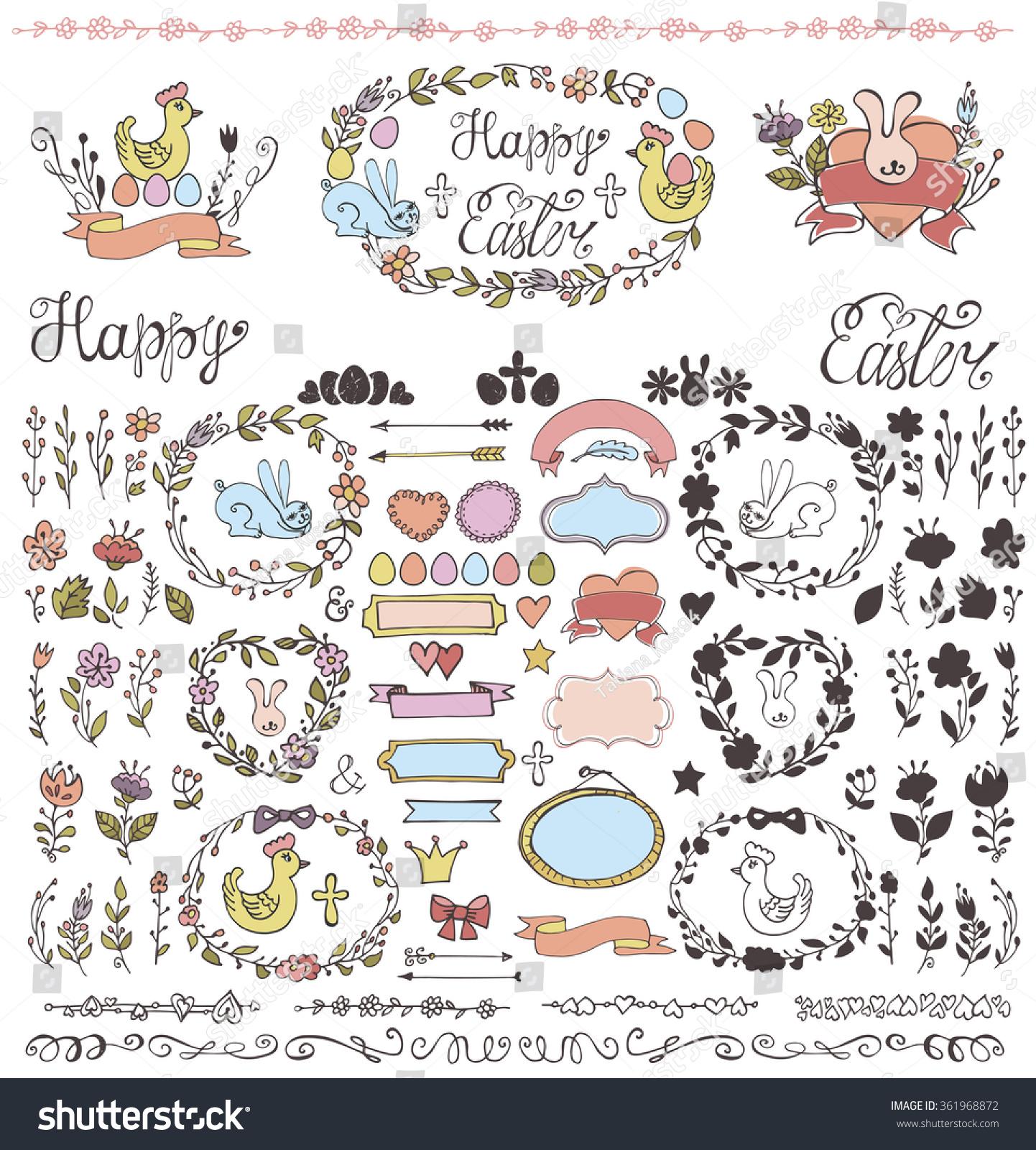 royalty free easter decoration set doodles flower u2026 361968872