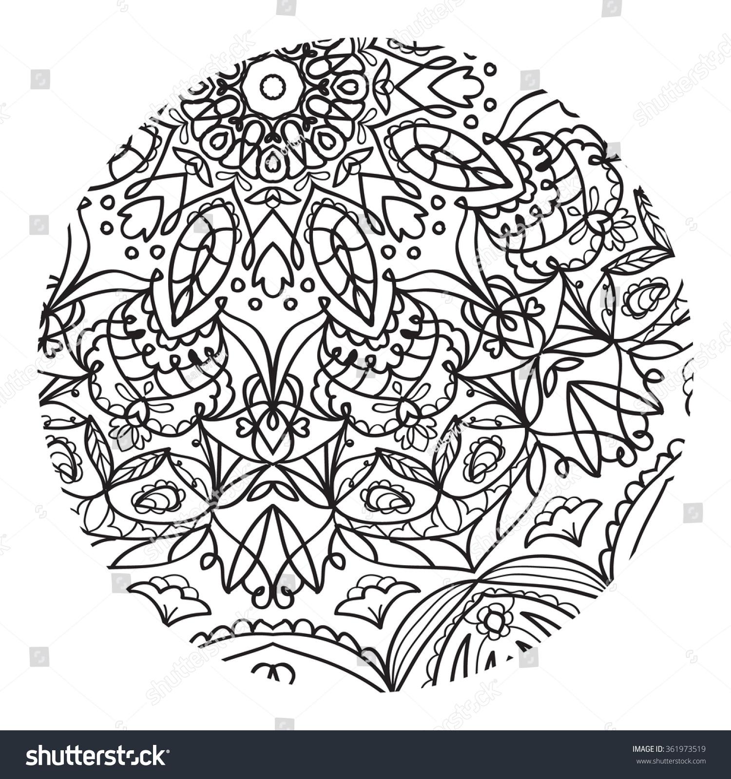 coloring for adults mandala pattern unique coloring book raster illustration a - Unique Coloring Books