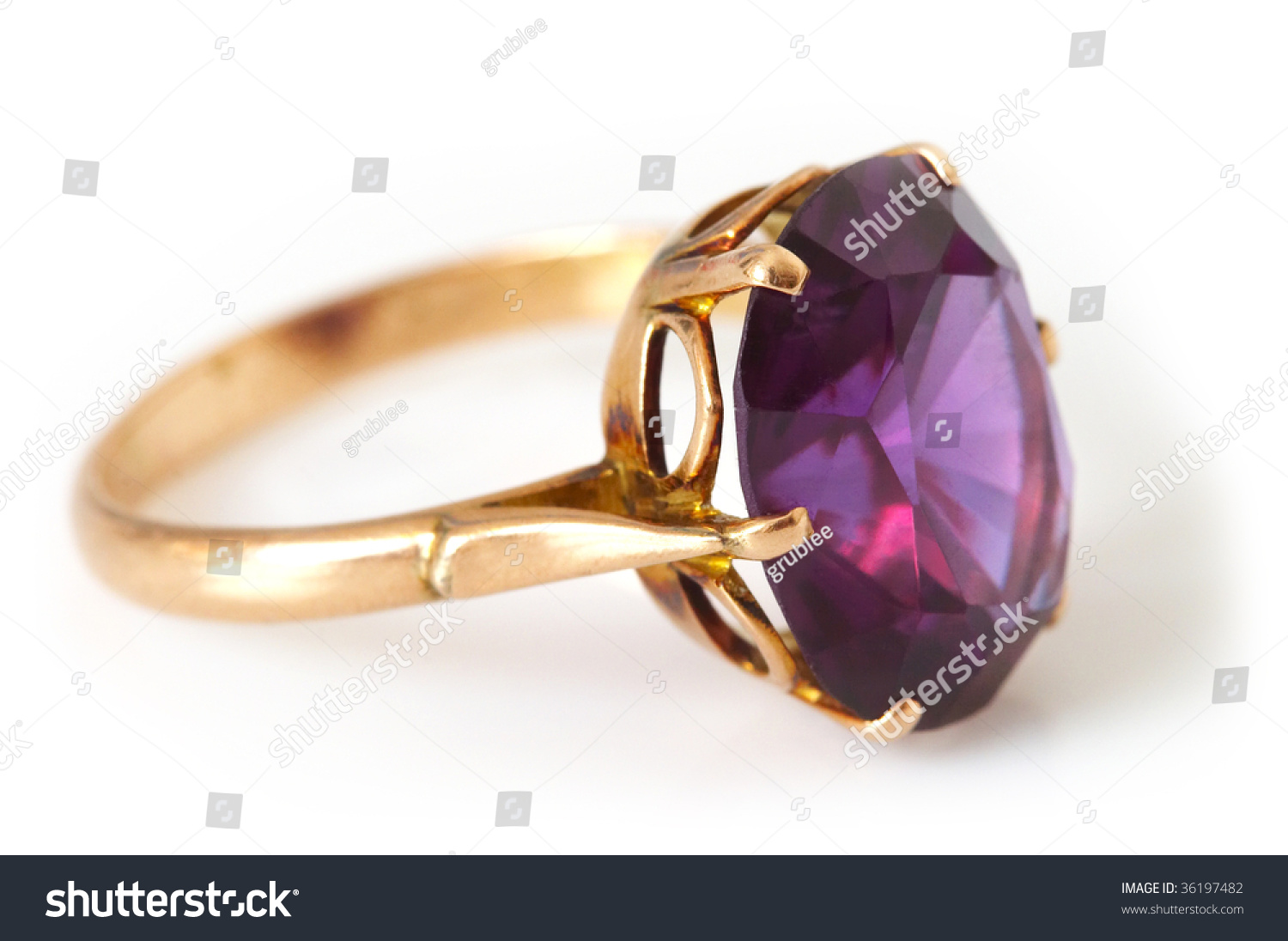 Golden Ring Beautiful Stone Over White Stock Photo 36197482 ...
