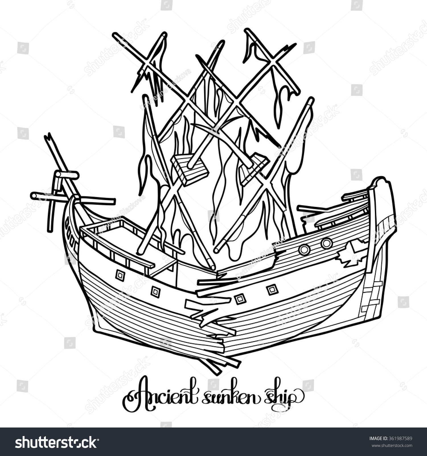 ancient broken sunken ship graphic vector stock vector