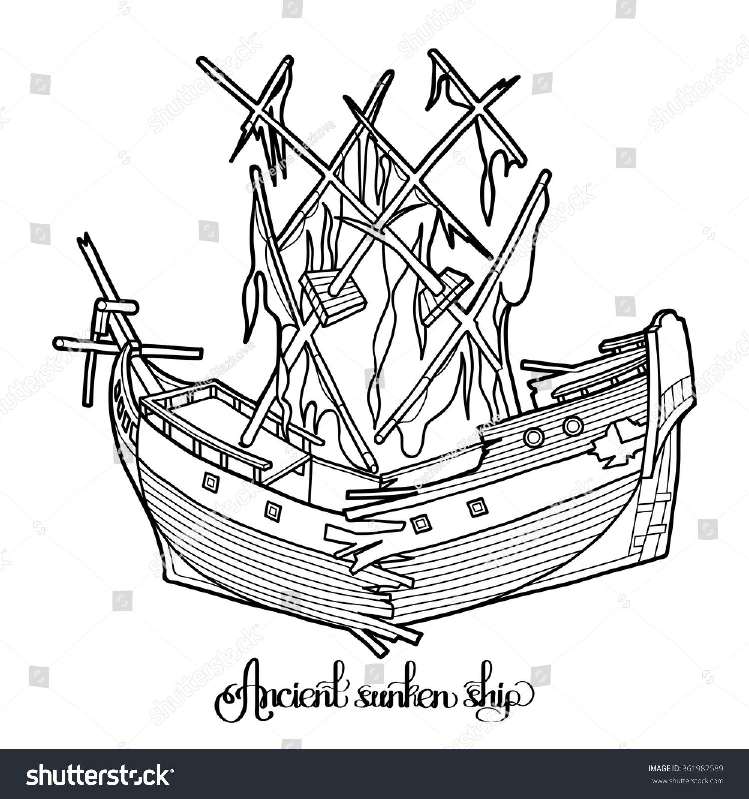 ancient broken sunken ship graphic vector stock vector