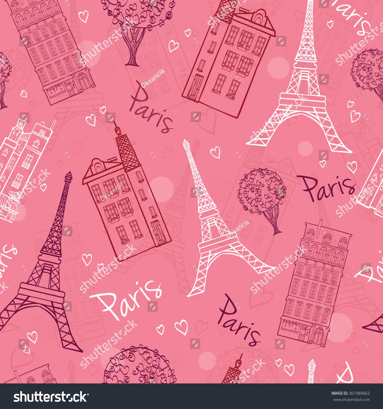 As Creation Pink Paris Pattern Eiffel Tower Childrens: Vector Pink Romantic Paris Streets Seamless Stock Vector