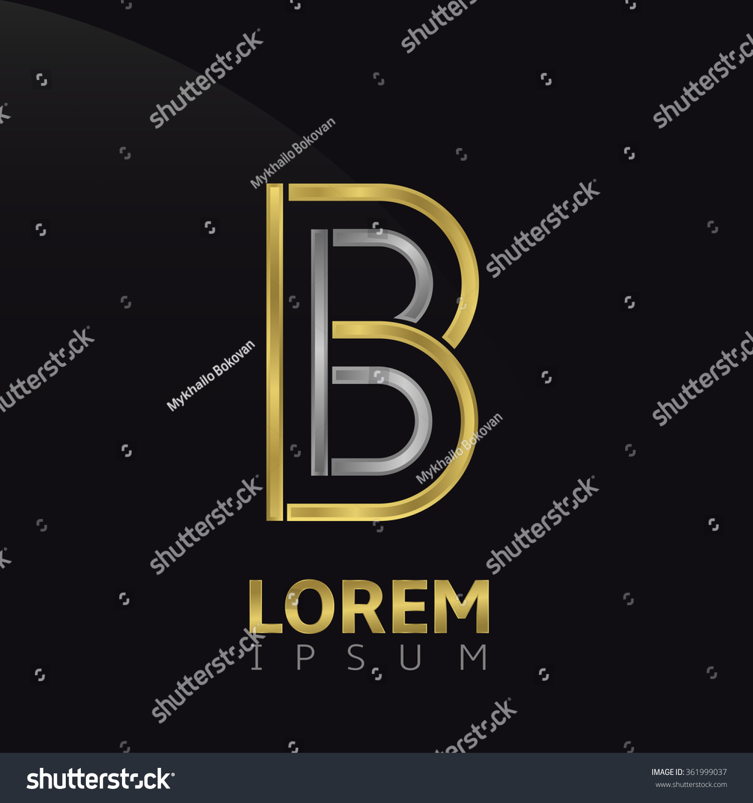 Letter B Logo Brand Symbol With Golden And Silver Elements Vector
