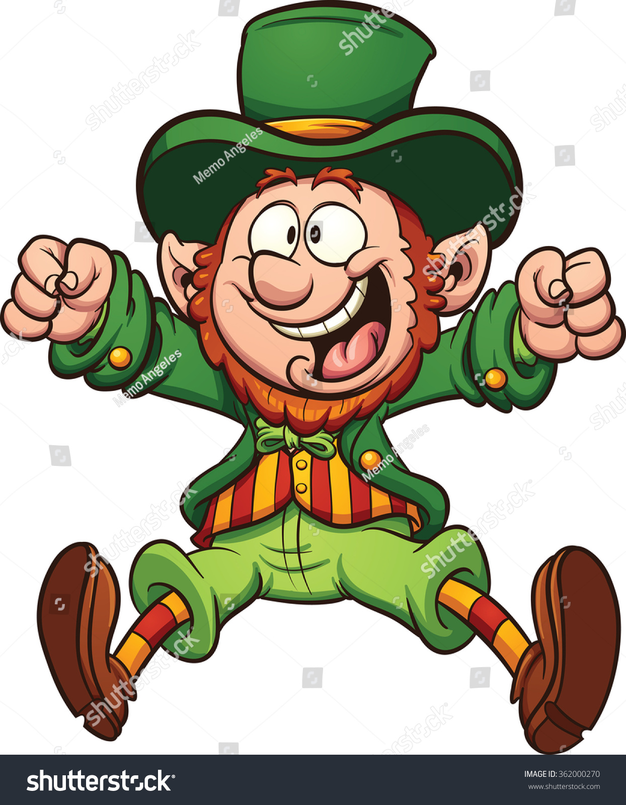 Happy Cartoon Leprechaun Vector Clip Art Stock Vector 362000270 ...