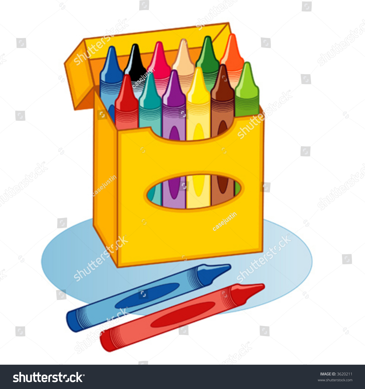 Main Colors In A Crayon Box Stock Vector Vector Big Box Of Crayons In