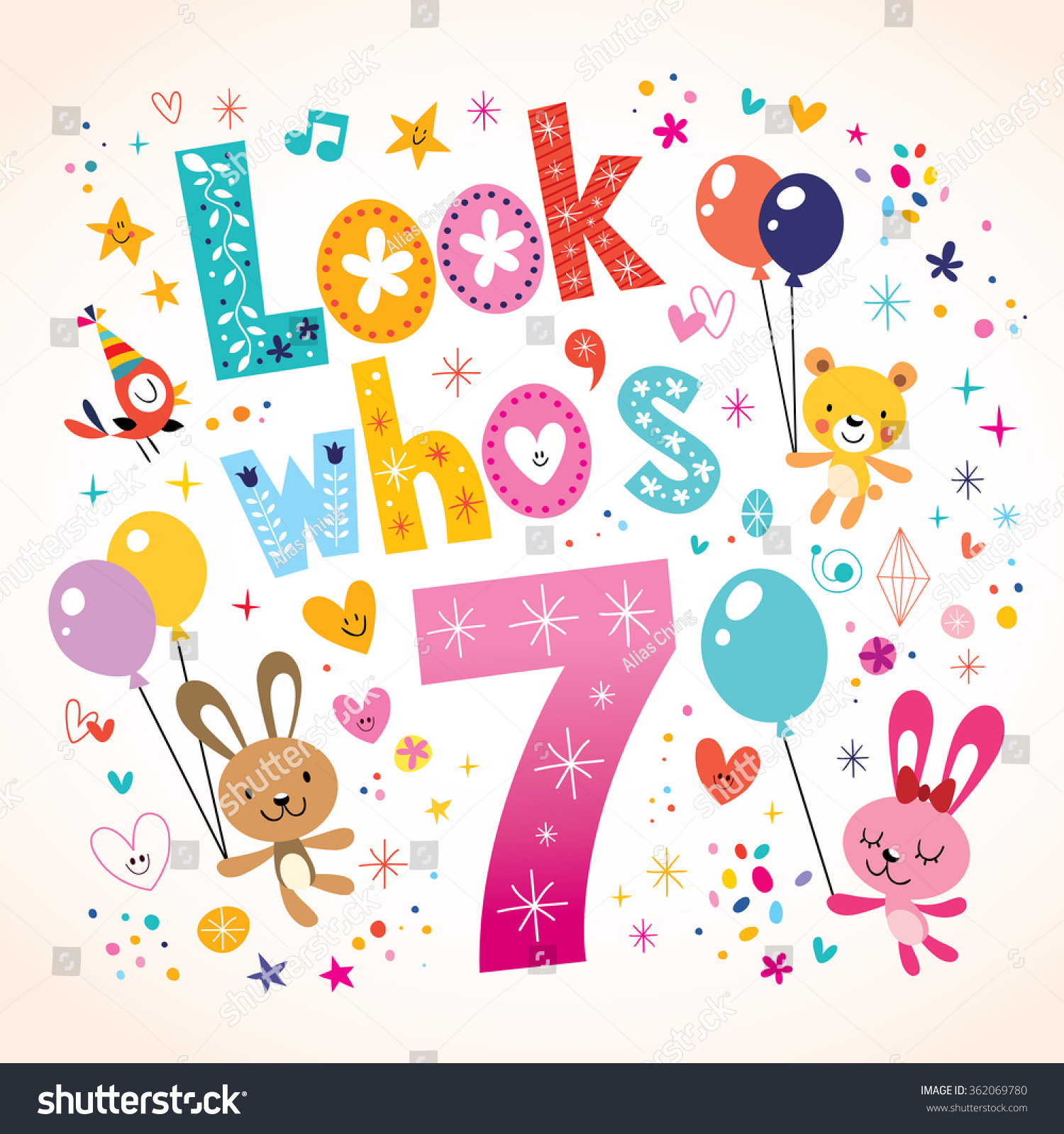 Look Whos Seven Seventh Birthday Greeting Stock Vector Royalty Free