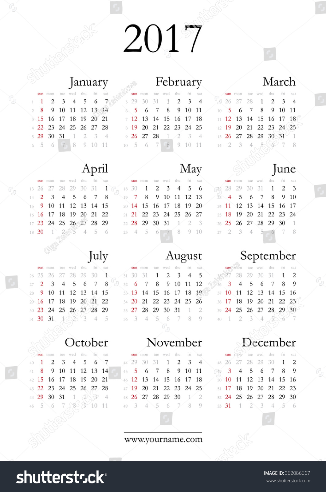 Simple calendar 2017 - vector template with elegant classic font ...