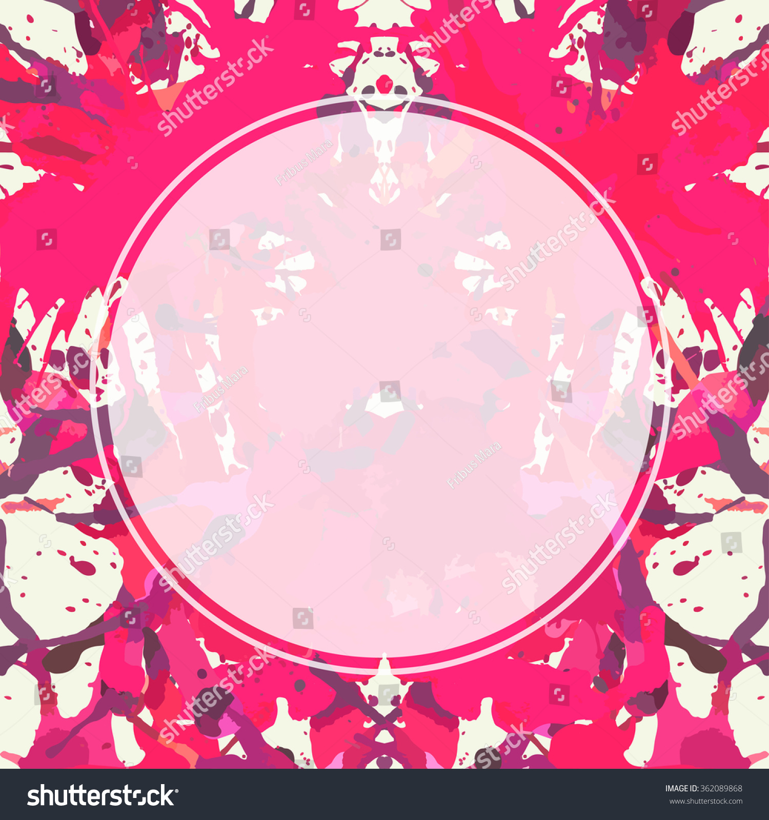 Bright Pink Paint Template Semitransparent White Circle Over Bright Stock Vector